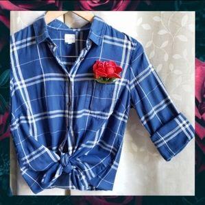 {J.Crew}'The Perfect Shirt' Blue Plaid Flannel S